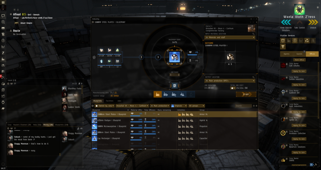 Eve Online manufacturing tab with blueprint