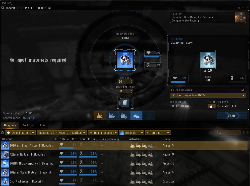 Eve Online industry guide - blueprint copy tab