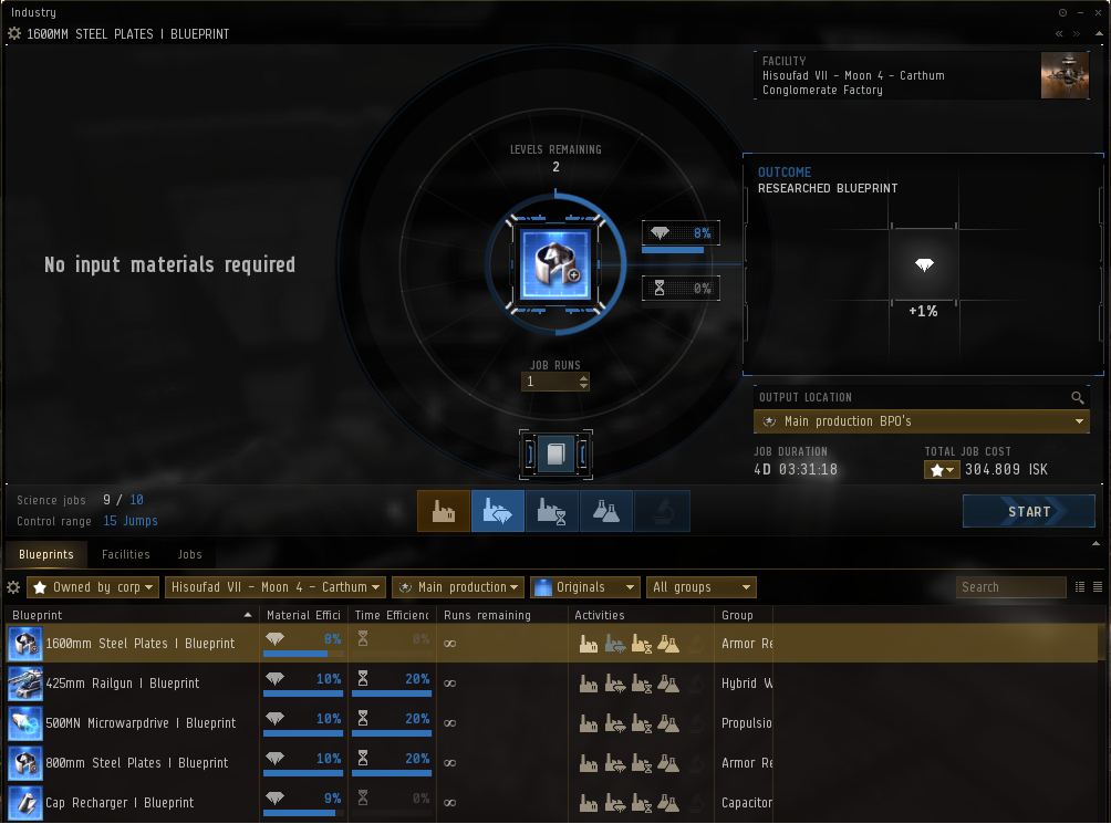 Eve Online industry guide - ME and PE research tab