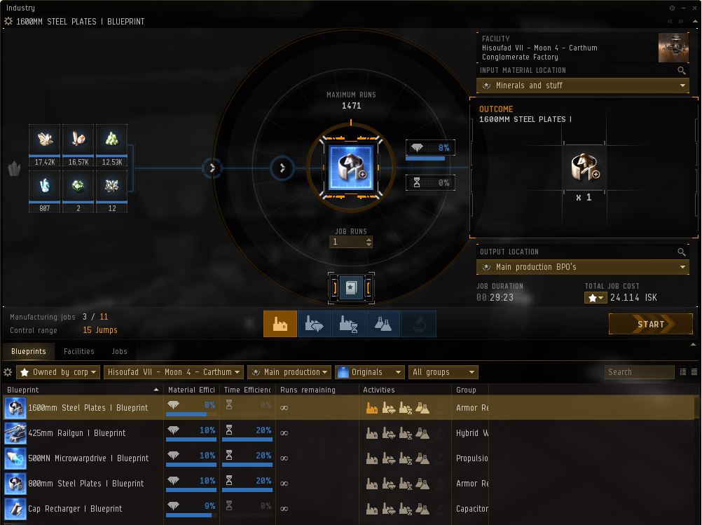 Eve Online industry guide - manufacturing tab