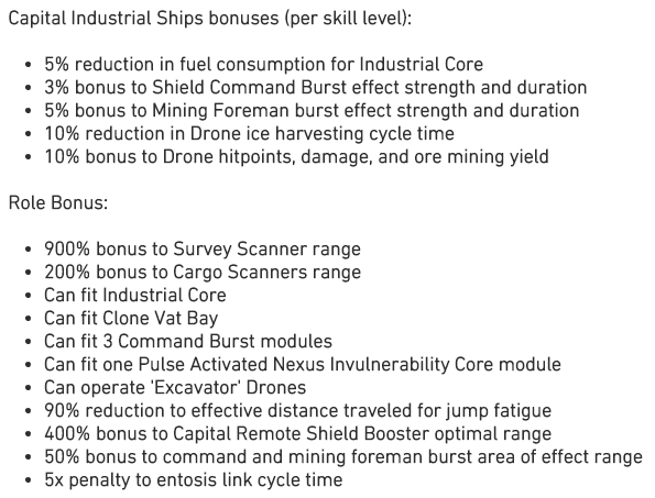 Eve Online Rorqual fitting traits
