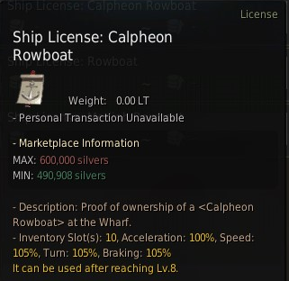 Black desert Calpheon Rowboat
