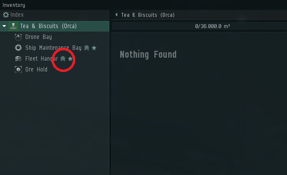Eve online Fleet mining hangar button