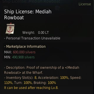 Black desert Mediah Rowboat