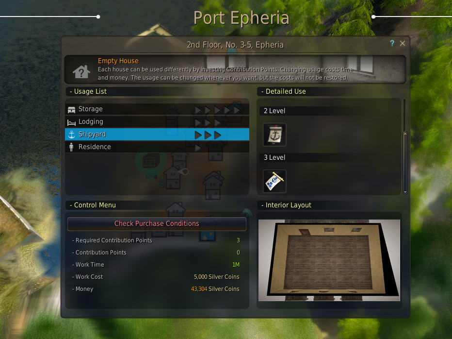 The shipyard control screen in Port Epheria where you can build an Epherian frigate