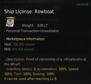 A screen showing the ship license for a Rowboat in BDO