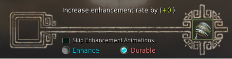 BDO enhancing screen showing the difference between Enhance vs durable