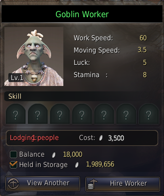 Black Desert Goblin worker contract