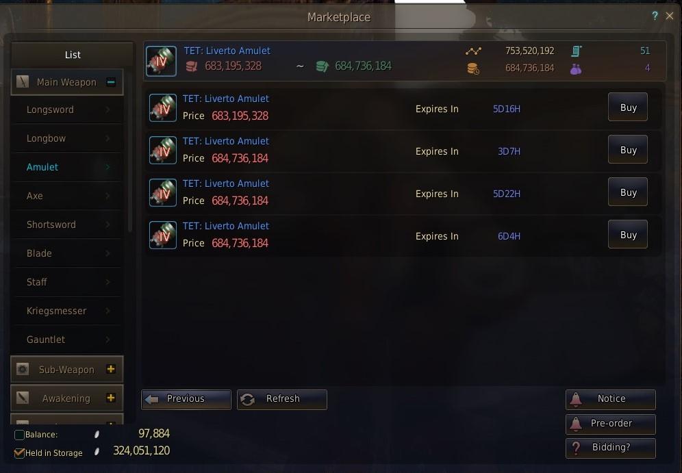 Black Desert online marketplace item