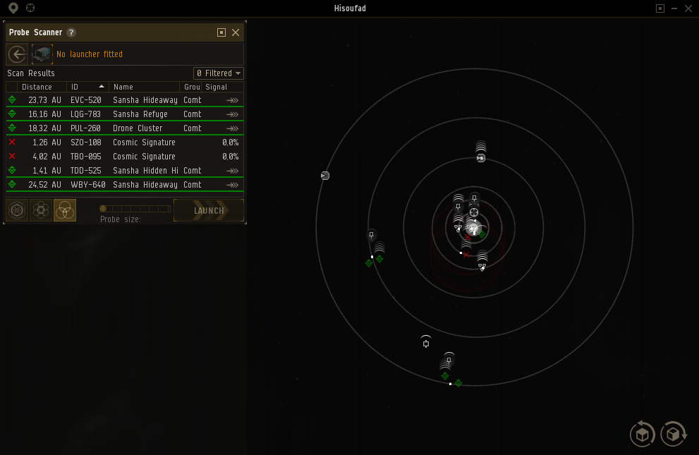 The Probe Scanner interface in eve online