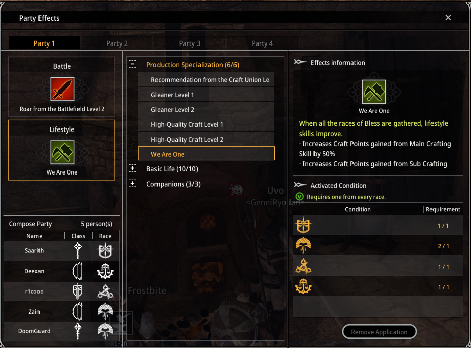 The party interface in Bless Online, we are one gives the 50% bonus