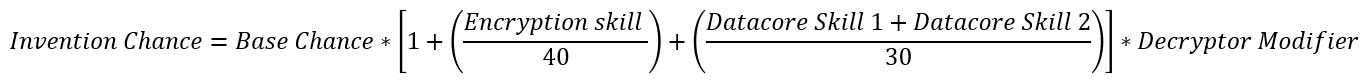 This is the invention chance formula for T2 invention. It reads Invention_Chance = Base_Chance * (1 + ((Encryption_Skill_Level / 40) + ((Datacore_1_Skill_Level + Datacore_2_Skill_Level) / 30))) * Decryptor_Modifier