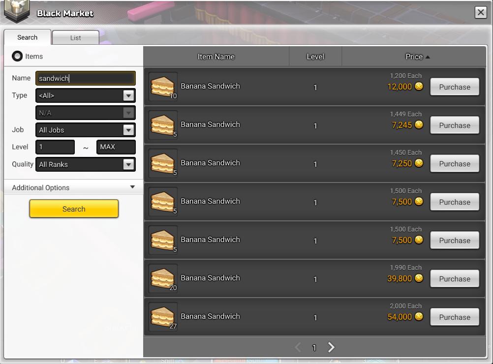 Black market tab in maplestory 2 showing banana sandwich