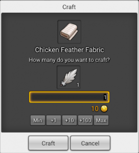 Craft window in Maplestory 2 for chicken feather fabric