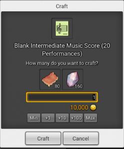 Craft window in MapleStory 2 for blank intermediate music scores