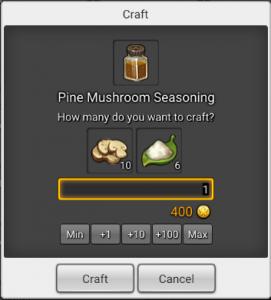Craft window in Maplestory 2 for pine msuchroom seasoning