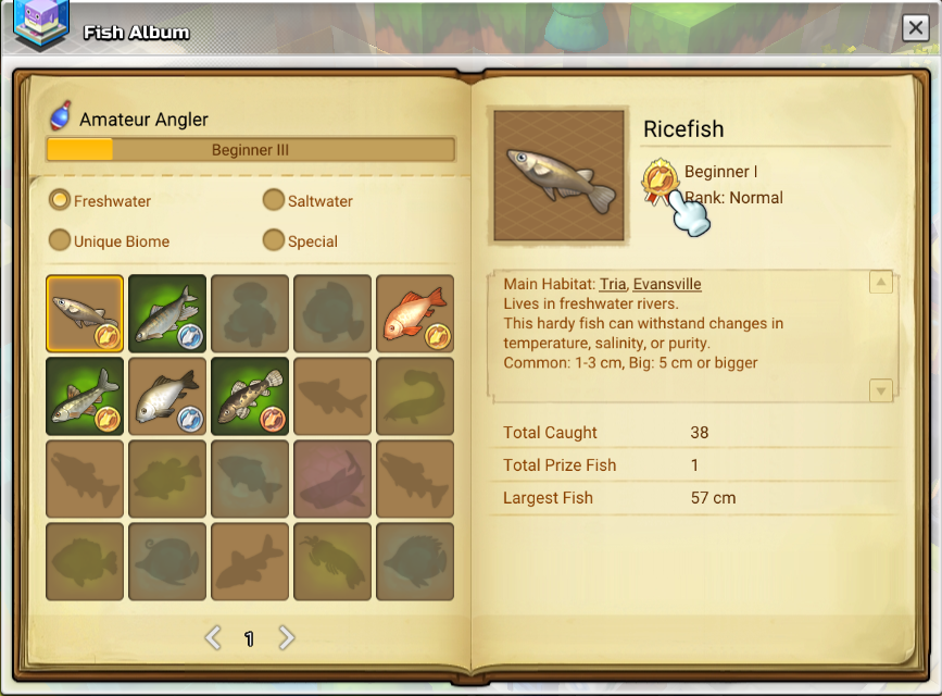 An image of the fishing album in Maplestory 2. Showing caught fish and ones fishing rank.