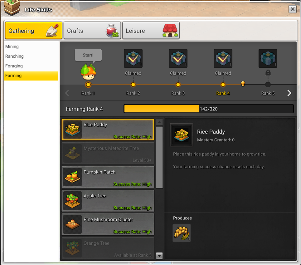 The gathering life skill tab in Maplestory 2 showing the farming skill line.