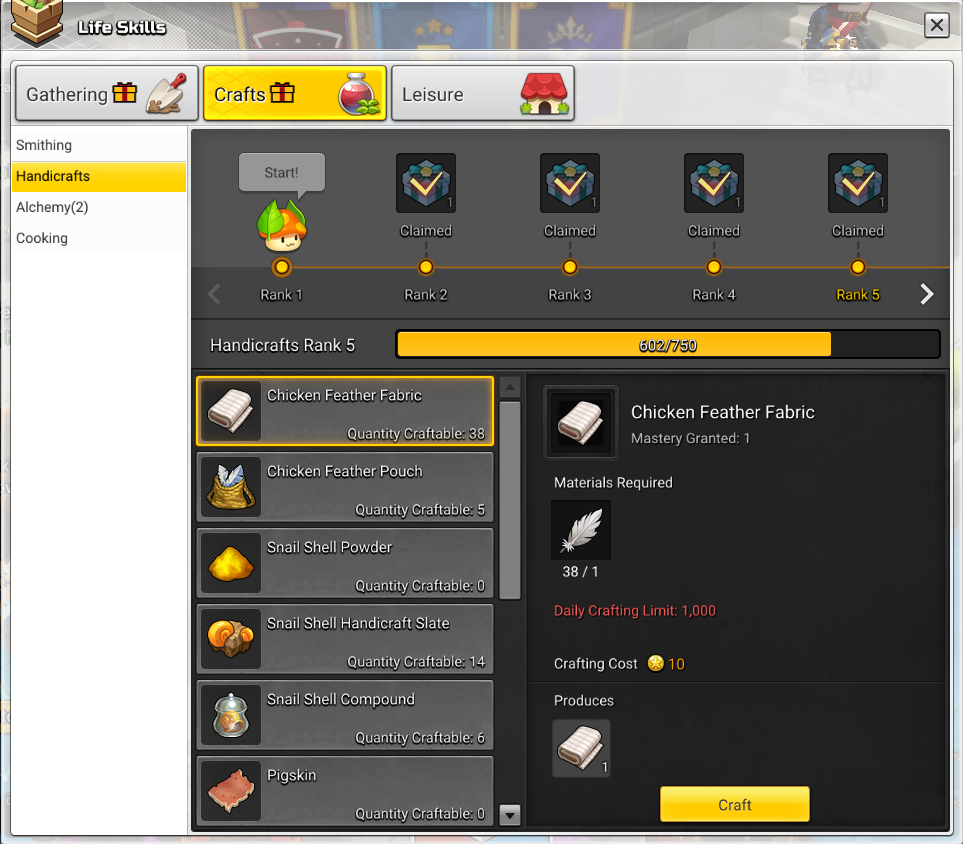 Crafting life skills tab in maplestory 2 showing the handicrafts skill line.