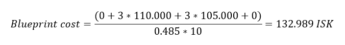 An example using the formula i use to calculate the cost of invention a T2 BPC in Eve Online