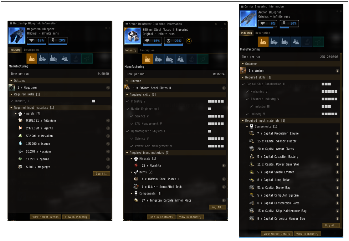 Three different types of blueprints in Eve Online to manufacture from