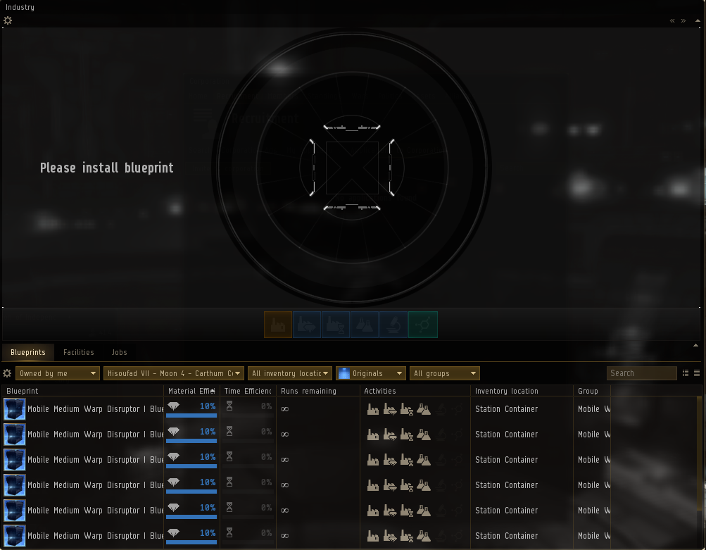 The industry interface in Eve Online - manufacturing tab.