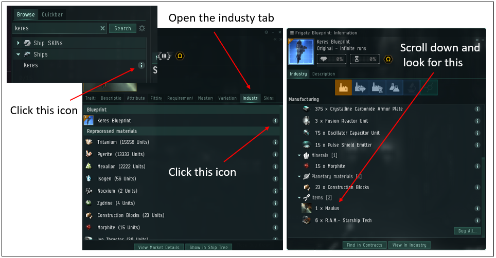 This image shows how to find what BPC is needed for any T2 ship invention in eve online