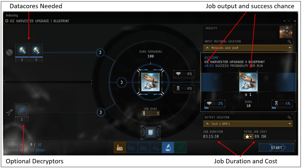 The Eve invention window. In this window you do all the invention tasks. Showing the ice harvester BPC as an example.