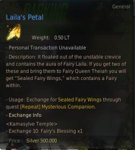 The description of Laila's petals which give you a fairy companion in BDO
