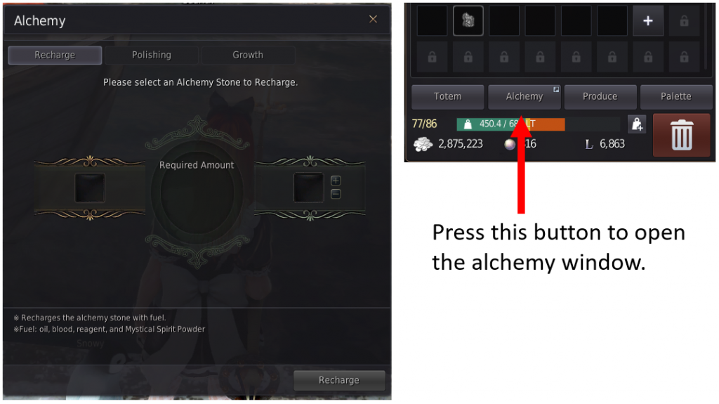 Two images that show the location of the alchemy tab where you do to repair an alchemy stone in BDO.