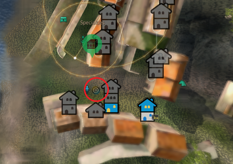 Image shows the map symbol for the location of a trade manager that you can sell fish to.